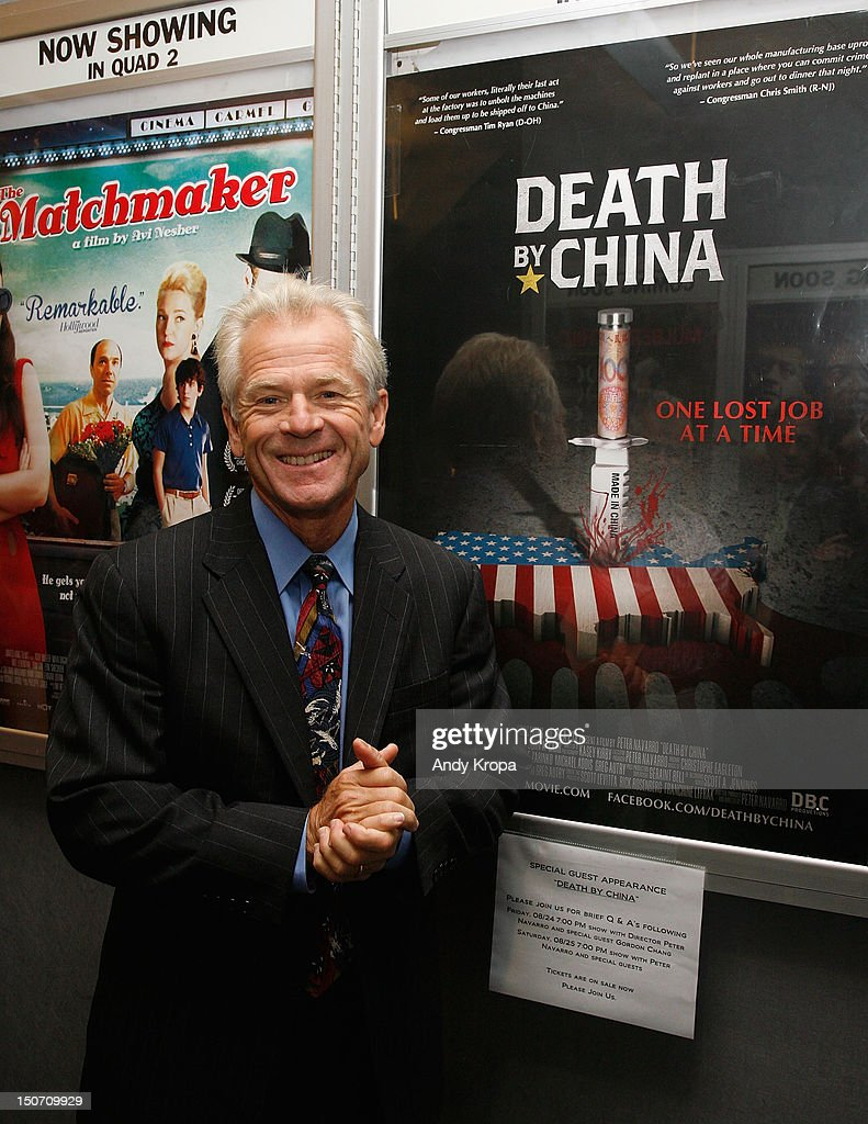 Director Peter Navarro attends the 'Death By China' screening at the Quad Cinema on August 24, 2012 in New York City.