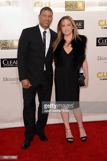 Director Peter Ramsey and producer Christina Steinberg arrive at the 18th Annual Critics' Choice Movie Awards held at Barker Hangar on January 10...
