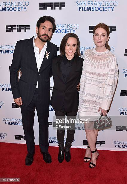 Director Peter Sollett Actress Ellen Page and Actress Julianne Moore attend the premiere screening of 'Freeheld' at Castro Theater on October 7 2015...