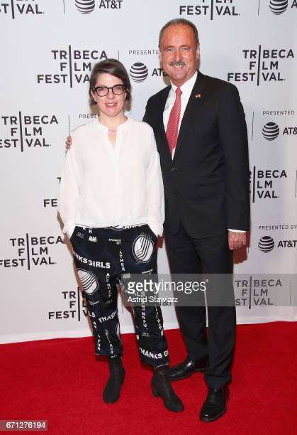 Director Petra Volpe and Ambassador André Schaller attend The Divine Order Premiere during 2017 Tribeca Film Festival at Cinepolis Chelsea on April...