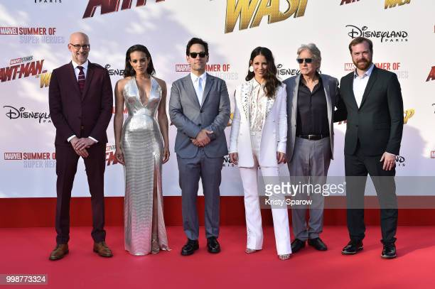 Director Peyton Reed actors Hannah JohnKamen Paul Rudd Evangeline Lilly Michael Douglas and producer Stephen Broussard attend the European Premiere...