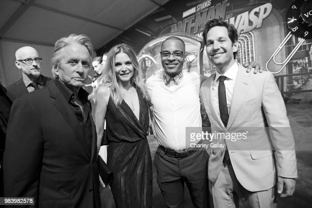 Director Peyton Reed actors Michael Douglas Michelle Pfeiffer Tip 'TI' Harris and Paul Rudd attend the Los Angeles Global Premiere for Marvel...