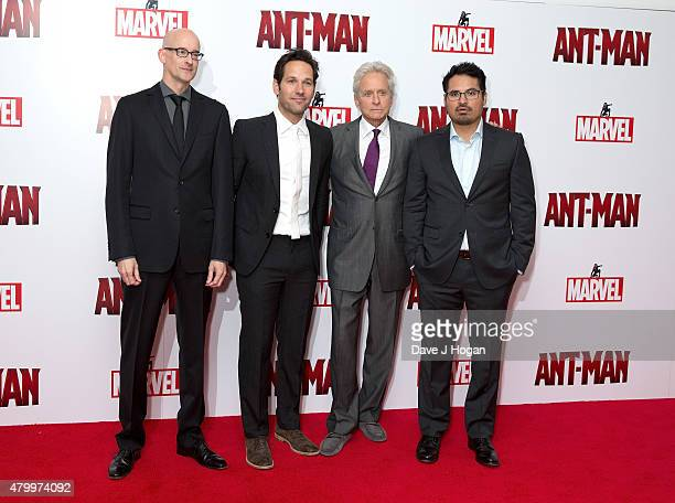 Director Peyton Reed and Actors Michael Douglas Paul Rudd and Michael Pena attend the European premiere of Marvel's 'AntMan' at Odeon Leicester...