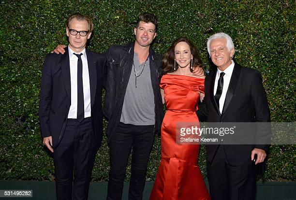 MOCA Director Philippe Vergne singersongwriter Robin Thicke MOCA Gala Cochairs Lilly Tartikoff Karatz and Maurice Marciano attend the MOCA Gala 2016...