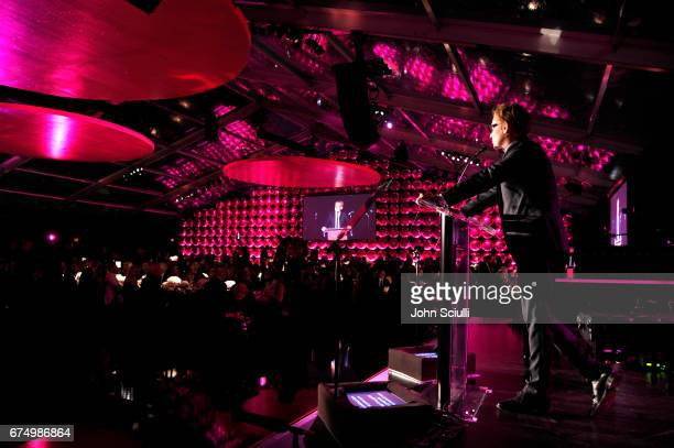 Director Philippe Vergne speaks at the MOCA Gala 2017 honoring Jeff Koons at The Geffen Contemporary at MOCA on April 29, 2017 in Los Angeles,...