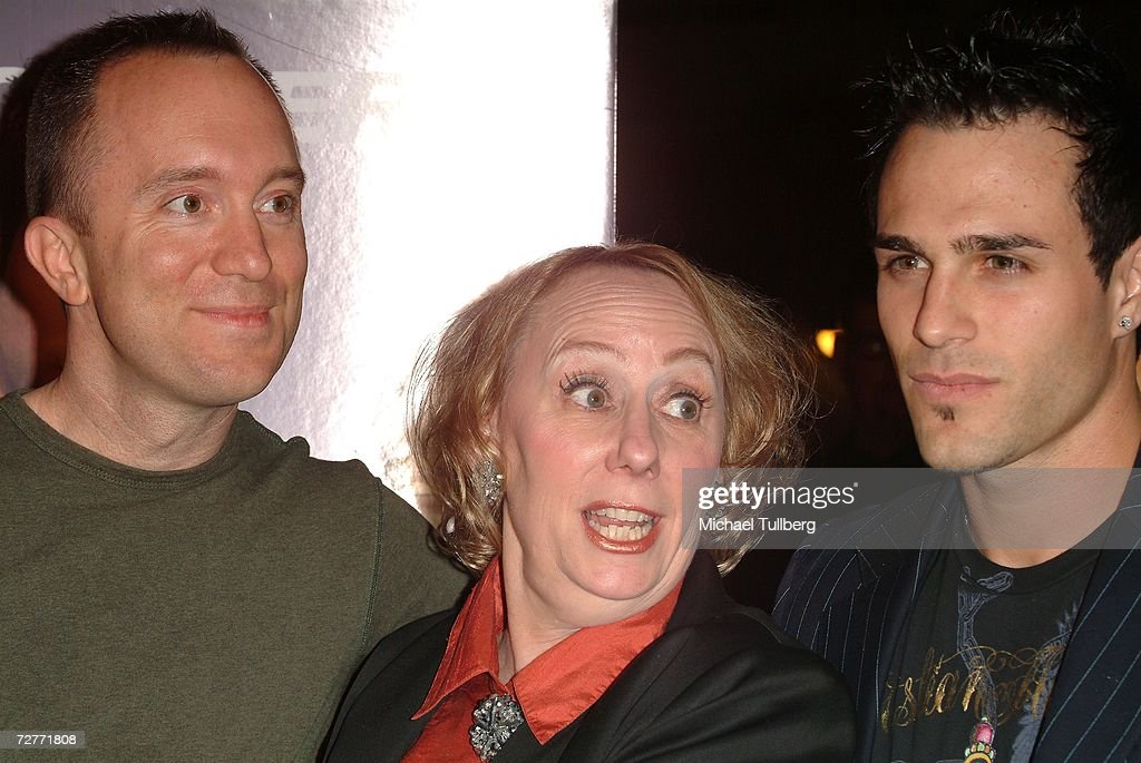 Director Phillip Bartell, actress Mink Stole and actor Marco Dapper arrive at the world premiere of the new movie 'Eating Out 2', held at the Sunset 5 Theater on December 7, 2006, in West Hollywood, California.
