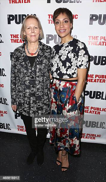 Director Phyllida Lloyd and Cush Jumbo attend the Opening Night Performance of 'Josephine and I' at the Public Theatre on March 10 2015 in New York...
