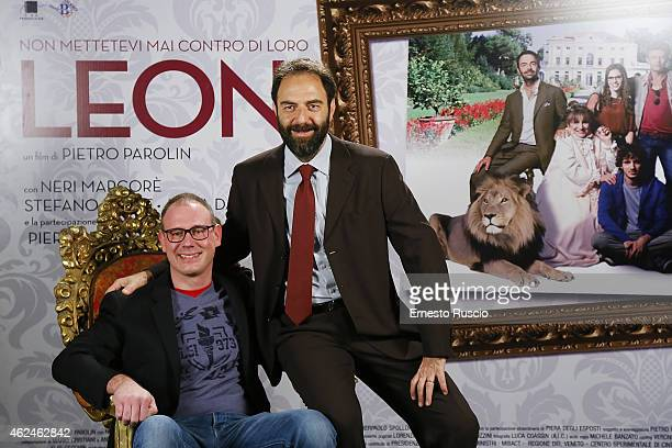 Director Pietro Parolin and Neri Marcore attend the 'Leoni' photocall at Cinema Barberini on January 29 2015 in Rome Italy