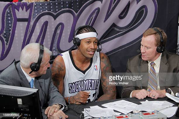 Director player personnel Jerry Reynolds and commentator Grant Napear interview James Johnson of the Sacramento Kings in a game against the New York...