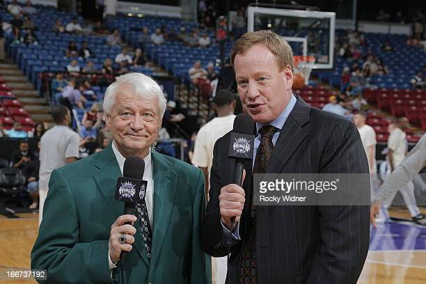 Director player personnel Jerry Reynolds and commentator Grant Napear of the Sacramento Kings prior to the game against the New Orleans Hornets on...