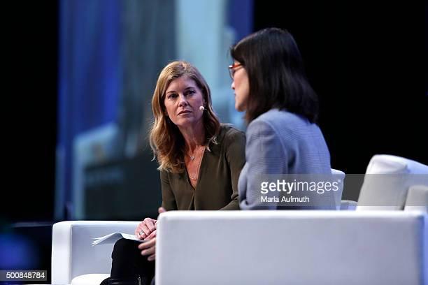 Director poducer Robin Hauser Reynolds and enterpreneur investor writer Ellen Pao speak on stage during Massachusetts Conference For Women at Boston...