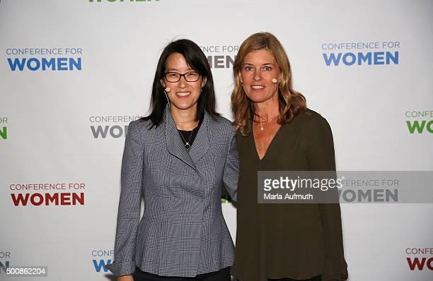 Director poducer Robin Hauser Reynolds and enterpreneur investor writer Ellen Pao attend during Massachusetts Conference For Women at Boston...