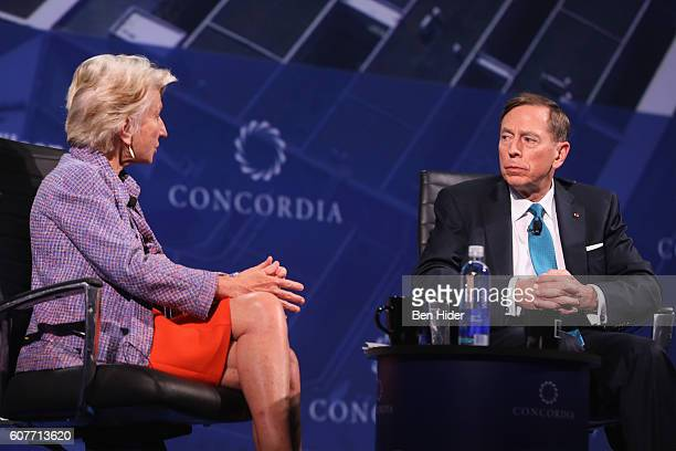 Director President and CEO of The Woodrow Wilson Center Hon Jane Harman and Former Director Central Intelligence Agency Gen David H Petraeus speak at...