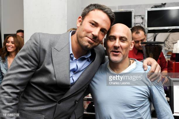Director/ Producer/ Actor Ben Affleck and Producer Jeffrey Robinov pose at the Guess Portrait Studio on Day 3 during the 2012 Toronto International...
