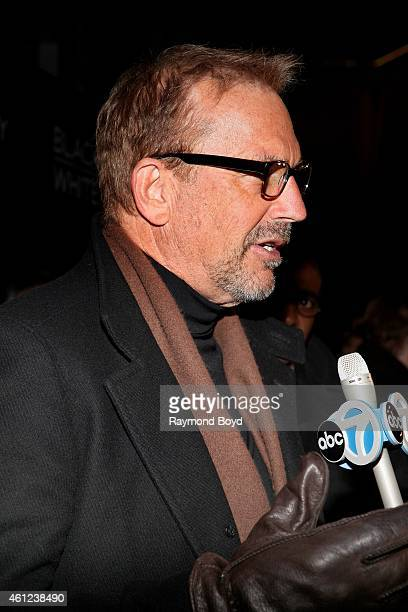 Director Producer and Actor Kevin Costner is interviewed prior to the 'Black Or White' movie screening at the Kerasotes Showplace Icon Theatres in...