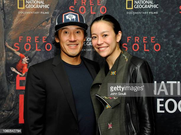 Director producer and cinematographer Jimmy Chin and director and producer Elizabeth Chai Vasarhelyi attend the screening of Free Solo hosted by Tim...
