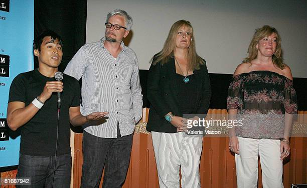 Director producer and cinematographer PJ Raval director and producer Jay Hodges and Trinidad cast members Sabrina Marcus and Marci Bowers attend the...