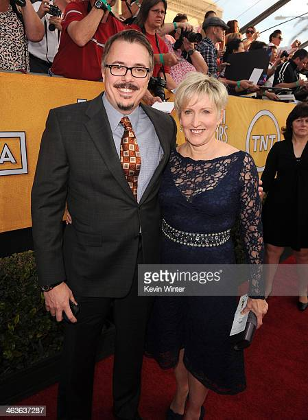 Director/ Producer Vince Gilligan and Holly Rice attend 20th Annual Screen Actors Guild Awards at The Shrine Auditorium on January 18 2014 in Los...