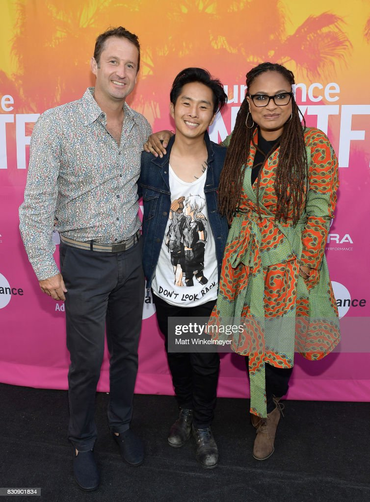 Director, Programming Sundance Film Festival, Trevor Groth, writer/director Justin Chon and director Ava DuVernay speak on stage during the 2017 Sundance NEXT FEST at The Theater at The Ace Hotel on August 12, 2017 in Los Angeles, California.