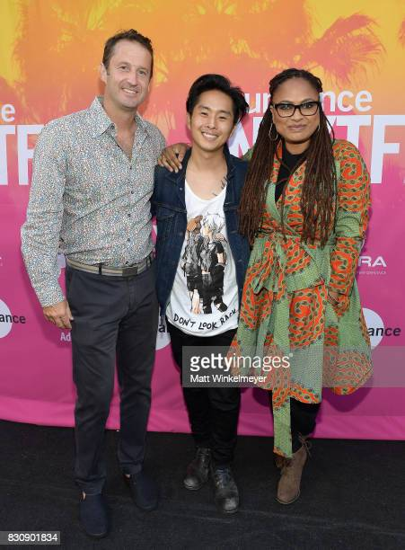 Director Programming Sundance Film Festival Trevor Groth writer/director Justin Chon and director Ava DuVernay speak on stage during the 2017...