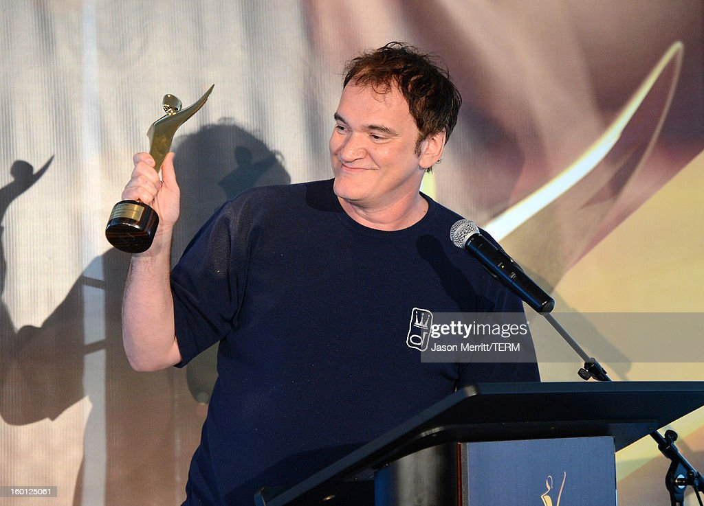 Director Quentin Tarantino accepts the award for best screenplay onstage during the Australian Academy of Cinema and Television Arts' 2nd AACTA International Awards at Soho House on January 26, 2013 in West Hollywood, California.