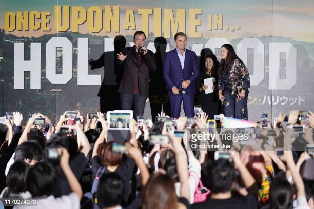 Director Quentin Tarantino actor Leonardo DiCaprio and Producer Shannon McIntosh attend the Japan premiere of 'Once Upon A Time In Hollywood' on...