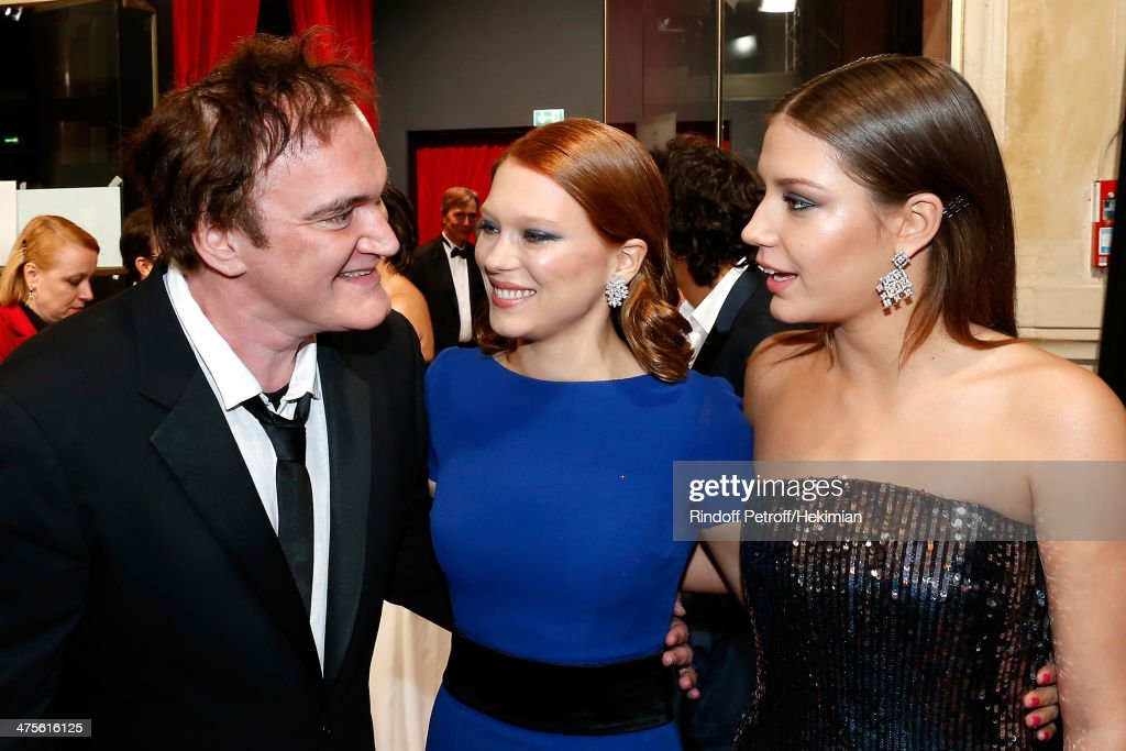 Director Quentin Tarantino , actresses Lea Seydoux and Adele Exarchopoulos arrive for the 39th Cesar Film Awards 2014 at Theatre du Chatelet on February 28, 2014 in Paris, France.
