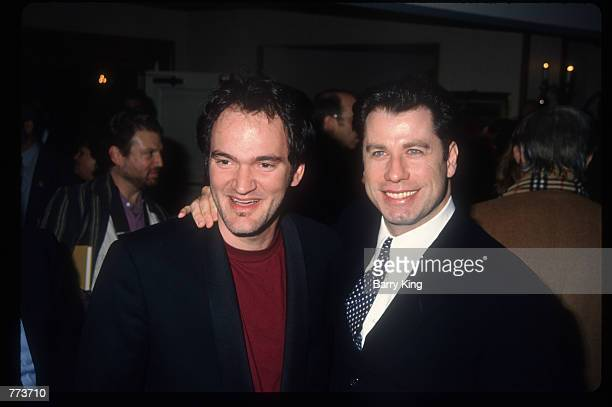 Director Quentin Tarantino and actor John Travolta stand at the Los Angeles Film Critics Awards January 17 1995 in Los Angeles CA Celebrities and...