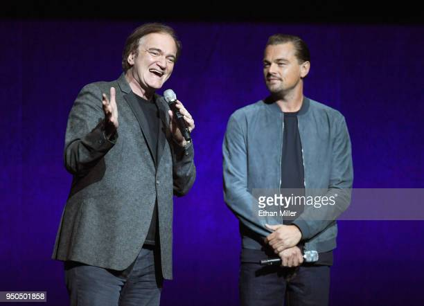 Director Quentin Tarantino and Actor Leonardo DiCaprio speak onstage during the CinemaCon 2018 Gala Opening Night Event Sony Pictures Highlights its...