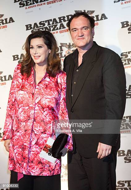 Director Quentin Tarantino and actress Edwige Fenech attend Inglourious Basterds Premiere at the Warner Cinema on September 21 2009 in Rome Italy
