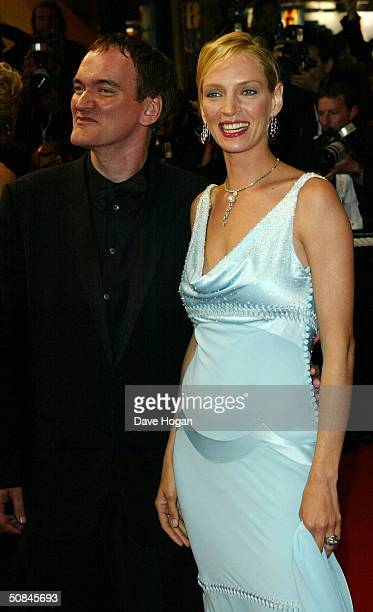 Director Quentin Tarantino and actress Uma Thurman arrive to the premiere of Kill Bill II at the Palais des Festivals during the 57th Annual...