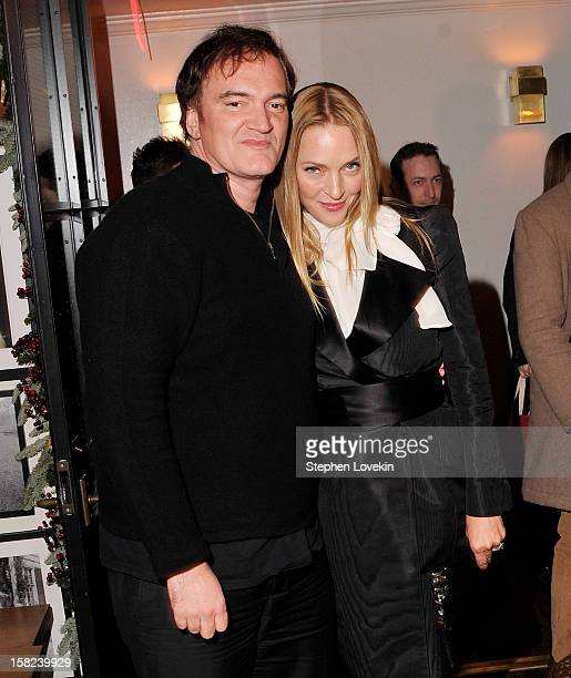 Director Quentin Tarantino and actress Uma Thurman attend the after party for a screening 'Django Unchained' hosted by The Weinstein Company With The...