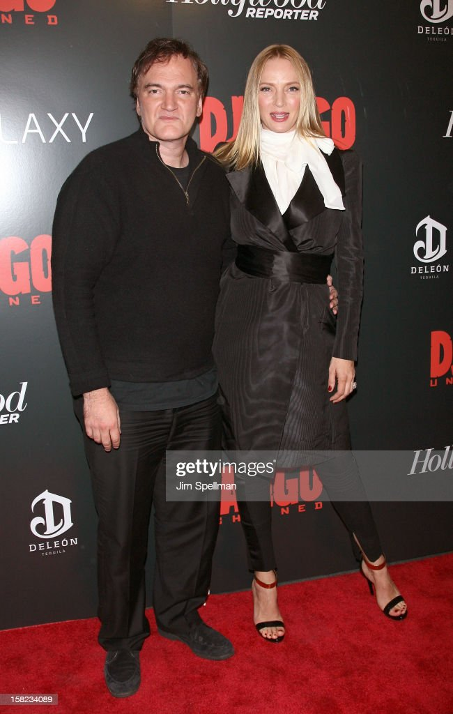 Director Quentin Tarantino and actress Uma Thurman attends The Weinstein Company with The Hollywood Reporter, Samsung Galaxy & The Cinema Society screening of 'Django Unchained' at the Ziegfeld Theatre on December 11, 2012 in New York City.