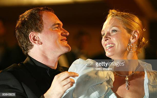 Director Quentin Tarantino and actress Uma Thurman leave the premiere of Kill Bill II at the Palais des Festivals during the 57th Annual...