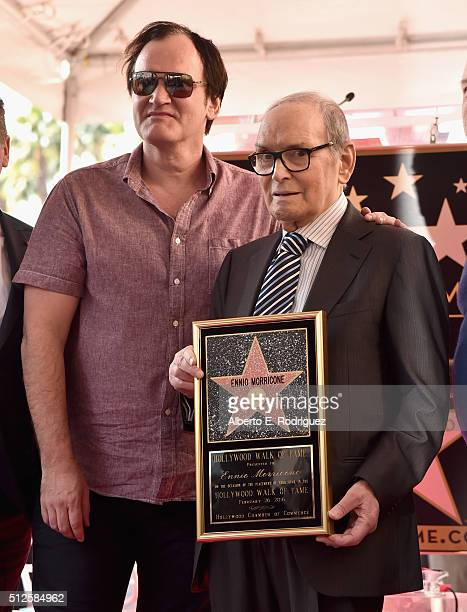 Director Quentin Tarantino and composer Ennio Morricone attend a ceremony honoring Ennio Morricone with the 2575th Star on The Hollywood Walk of Fame...