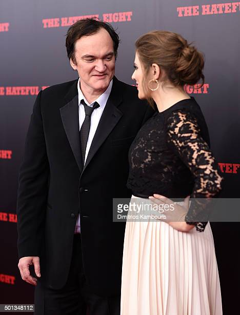 Director Quentin Tarantino and Courtney Hoffman attend the New York premiere of 'The Hateful Eight' on December 14 2015 in New York City