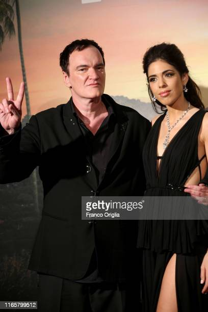 US director Quentin Tarantino and Daniela Pick attend the premiere of the movie Once Upon a time in Hollywood at Cinema Adriano on August 02 2019 in...