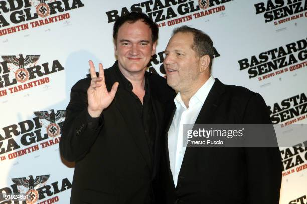 Director Quentin Tarantino and Harvey Weinstein attend 'Inglourious Basterds' Premiere at premiere at the Warner Cinema on September 21 2009 in Rome...