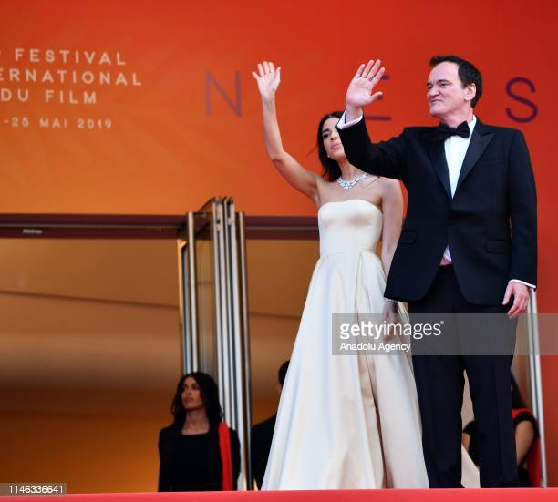 US director Quentin Tarantino and his wife Israeli singer Daniella Pick arrive for the Closing Awards Ceremony of the 72nd annual Cannes Film...