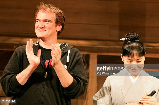 S director Quentin Tarantino and Japanese actress Kaori Momoi promote the film Sukiyaki Western Django at the Imperial Hotel June 11 2007 in Tokyo...
