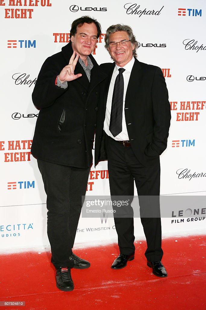 Director Quentin Tarantino and Kurt Russell walk the red carpet for 'The Hateful Eight' premiere on January 28, 2016 in Rome, Italy.
