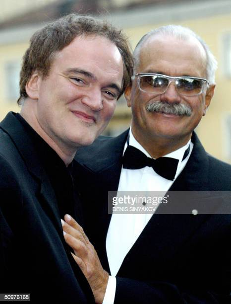 US director Quentin Tarantino and Russian director Nikita Mikhalkov pose for photographers prior to the opening ceremony of the XXVI Moscow...