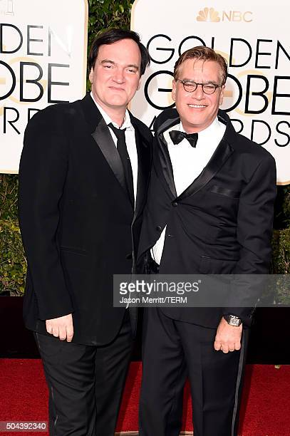 Director Quentin Tarantino and screenwriter Aaron Sorkin attend the 73rd Annual Golden Globe Awards held at the Beverly Hilton Hotel on January 10...