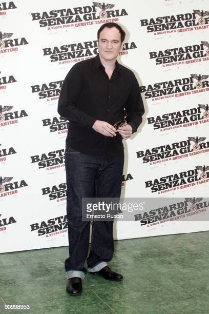 Director Quentin Tarantino attends Inglourious Basterds Photocall at the Hassler Hotel on September 21 2009 in Rome Italy