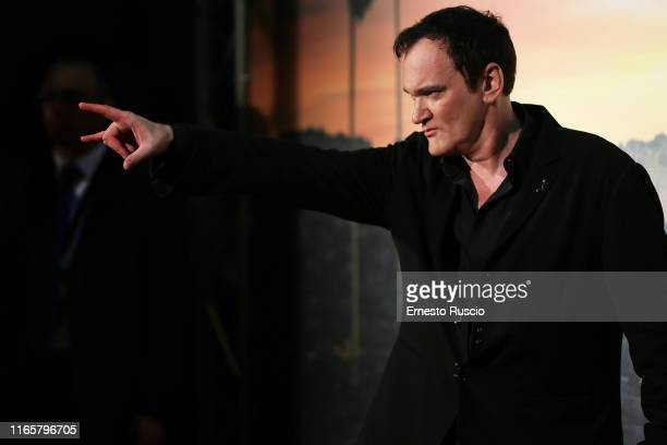 "Director Quentin Tarantino attends the premiere of the movie ""Once Upon a time in Hollywood"" at Cinema Adriano on August 02, 2019 in Rome, Italy."