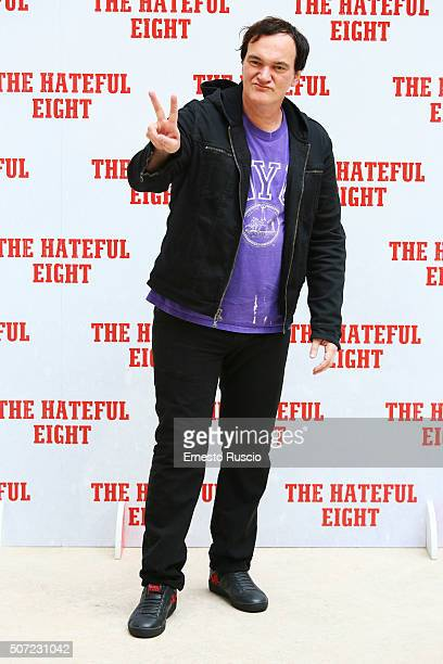 Director Quentin Tarantino attends the 'The Hateful Eight' photocall at Hassler Hotel on January 28 2016 in Rome Italy