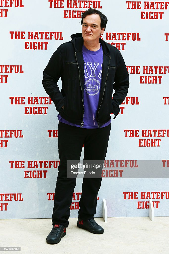 Director Quentin Tarantino attends the 'The Hateful Eight' photocall at Hassler Hotel on January 28, 2016 in Rome, Italy.