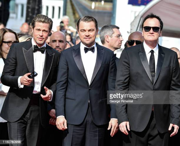 Director Quentin Tarantino Brad Pitt and Leonardo DiCaprio attend the screening of Once Upon A Time In Hollywood during the 72nd annual Cannes Film...