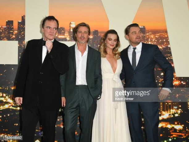 Director Quentin Tarantino Brad Pitt Margot Robbie and Leonardo DiCaprio attend the Sony Pictures' Once Upon A TimeIn Hollywood Los Angeles Premiere...