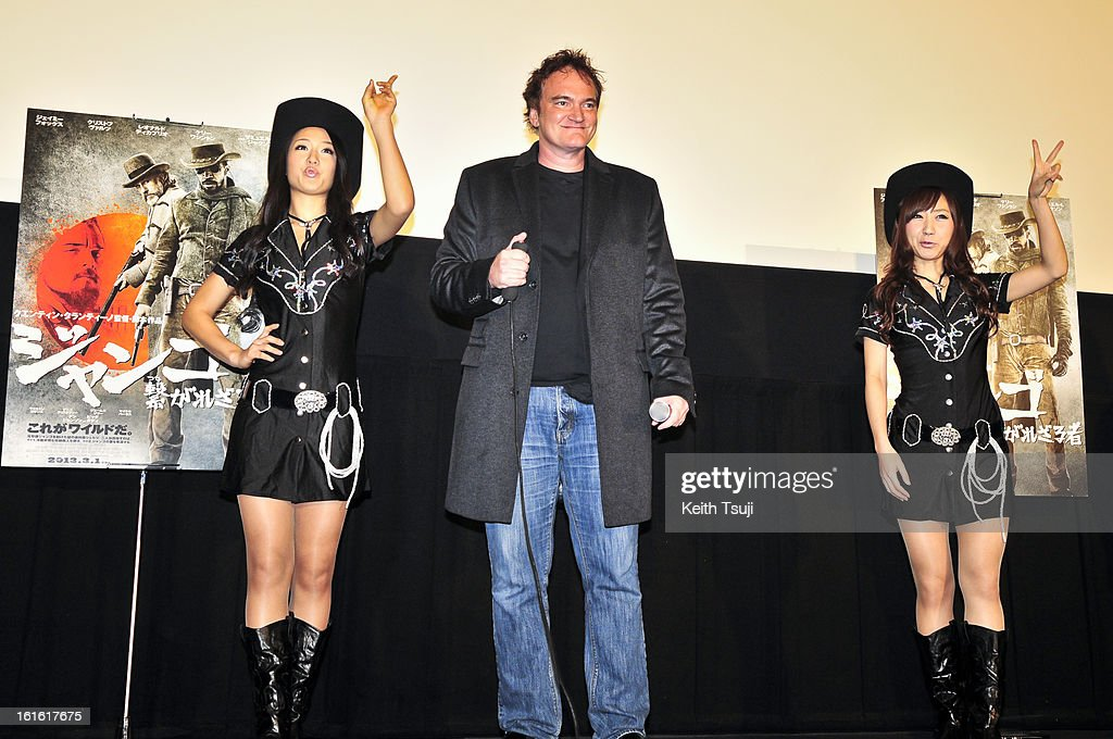 Director Quentin Tarantino gets ready to fire the chocolates before the special screening of 'Django Unchained' at Shinjuku Piccadilly on February 13, 2013 in Tokyo, Japan. The film will open on March 1 in Japan.